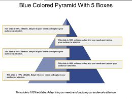 Blue Colored Pyramid With 5 Boxes
