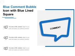Blue Comment Bubble Icon With Blue Lined Square