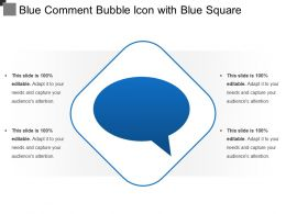 Blue Comment Bubble Icon With Blue Square