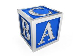Blue Cube With Abc Letters Stock Photo
