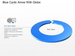Blue Cyclic Arrow With Globe Powerpoint Template Slide