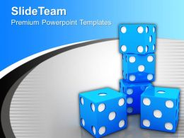 Blue Dices Leisure Game PowerPoint Templates PPT Themes And Graphics 0113