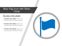 Blue Flag Icon With Silver Circle