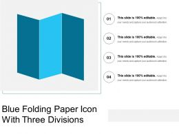 Blue Folding Paper Icon With Three Divisions