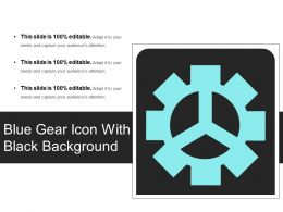 Blue Gear Icon With Black Background