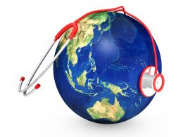 Blue Globe With Red Stethoscope Stock Photo