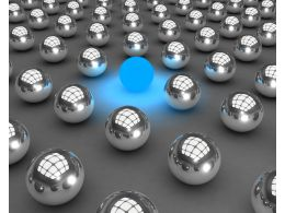 Blue Glowing Ball Displaying Individuality Concept Stock Photo
