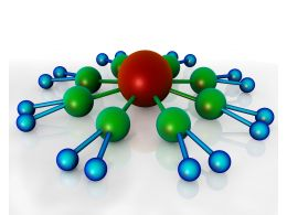 Blue Green Balls Connected With Red Ball Shows Leadership And Networking Stock Photo