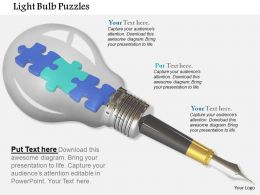 Blue Green Puzzle Pieces In Bulb For Innovative Idea