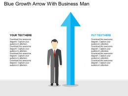 Blue Growth Arrow With Business Man Flat Powerpoint Design