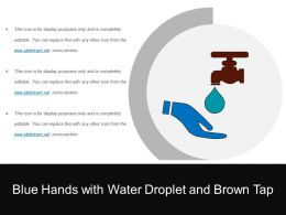 Blue Hands With Water Droplet And Brown Tap