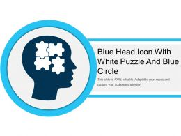 Blue Head Icon With White Puzzle And Blue Circle