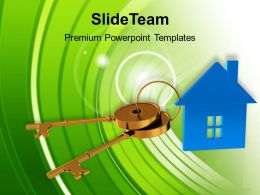 Blue House Connected With Keys Symbol Powerpoint Templates Ppt Themes And Graphics