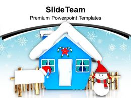 Blue Hut And Snowman With Board PowerPoint Templates PPT Backgrounds For Slides 0113