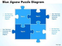Blue Jigsaw Puzzle Diagram Powerpoint templates 0812