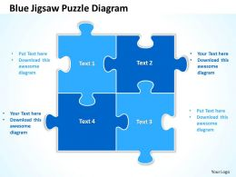 Blue Jigsaw Puzzle Diagram Powerpoint templates ppt presentation slides 0812