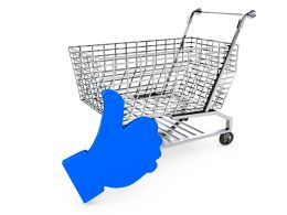 Blue Like Symbol With Shopping Cart For Marketing And Sale Stock Photo