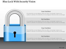 Blue Lock With Security Vision Powerpoint Template