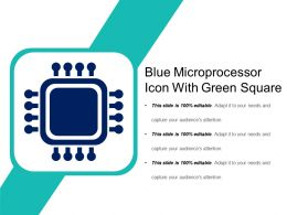Blue Microprocessor Icon With Green Square