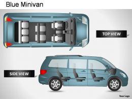 Blue Minivan Top View Powerpoint Presentation Slides