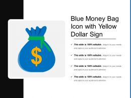 Blue Money Bag Icon With Yellow Dollar Sign