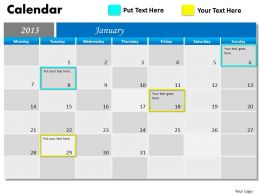 Blue Monthly Calendar 2013 PowerPoint Slides PPT templates