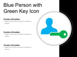 Blue Person With Green Key Icon