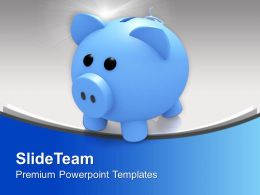 Blue Piggy Bank Savings Powerpoint Templates Ppt Themes And Graphics 0313