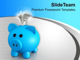 Blue Piggy Bank With Dollar Bills Powerpoint Templates Ppt Themes And Graphics 0313