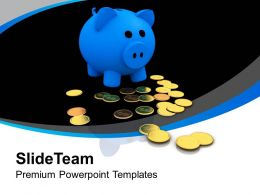 Blue Piggy Bank With Gold Coins Powerpoint Templates Ppt Themes And Graphics 0213