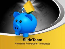 Blue Piggy With Lock Financially Secure PowerPoint Templates PPT Themes And Graphics 0113