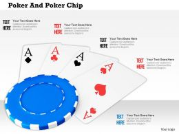 Blue Poker Chip On Cards For Gambling