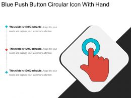 Blue Push Button Circular Icon With Hand