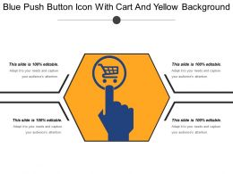 Blue Push Button Icon With Cart And Yellow Background