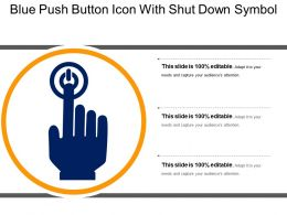 Blue Push Button Icon With Shut Down Symbol