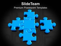 Blue Puzzles Making Solution Teamwork PowerPoint Templates PPT Themes And Graphics 0213
