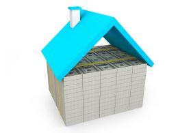 Blue Roof Hut Made With Base Of Dollars Stock Photo