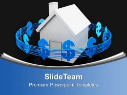Blue Signs Of Dollar Around A House Powerpoint Templates Ppt Themes And Graphics 0113