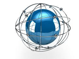 Blue Sphere Inside A Metal Cage Stock Photo