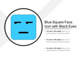 Blue Square Face Icon With Black Eyes