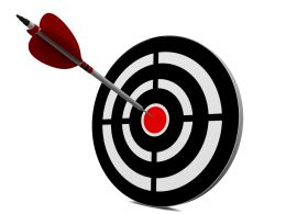 Blue Target Dart With Red Arrow Stock Photo