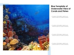 Blue Template Of Underwater View Of Corals And Fishes