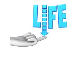 Blue Text Of Life On Hand With Downward Arrow Stock Photo