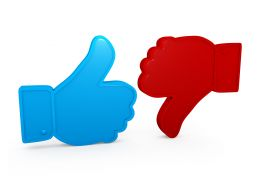 Blue Thumb Up For Like And Red For Dislike Stock Photo