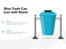 Blue Trash Can Icon With Stand