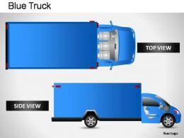 Blue Truck Side View Powerpoint Presentation Slides