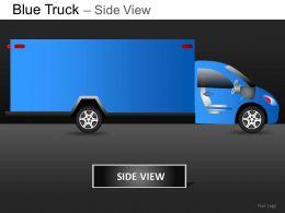 Blue Truck Side View Powerpoint Presentation Slides DB