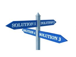 Blue Two Way Signpost For Solution Display Stock Photo