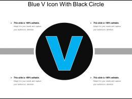 Blue V Icon With Black Circle