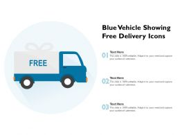 Blue Vehicle Showing Free Delivery Icons